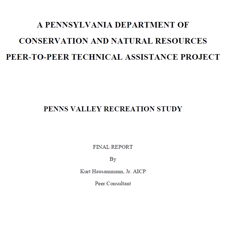 Penns Valley Peer Recreation Study Cover