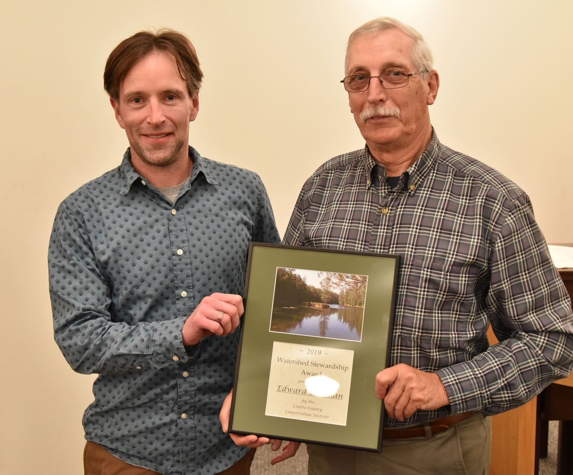 Edward Bowman (r), 2019Watershed Stewardship Award winner